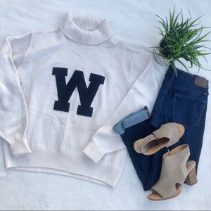 Vintage 1950s Wool Varsity Turtleneck Sweater